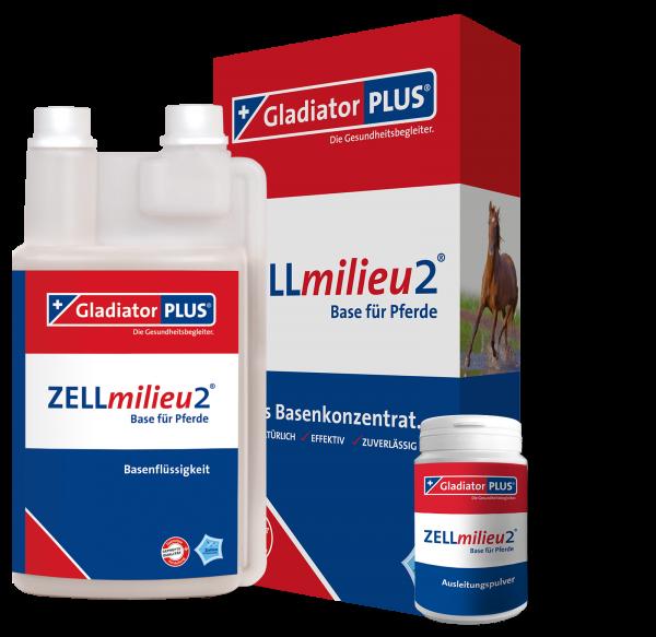 GladiatorPLUS - ZELLmilieu2 Base + Pulver für Pferde - Basenkonzentratsergänzung zu Gladiator PLUS