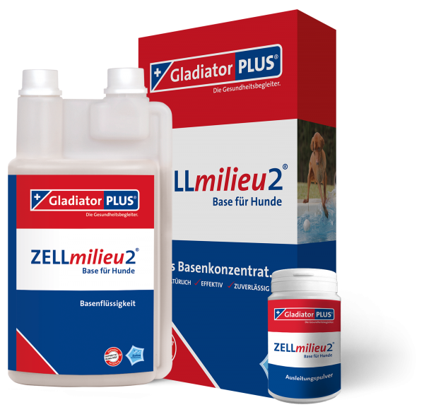 GladiatorPLUS - ZELLmilieu2 Base + Pulver für Hund - die Basenkonzentratsergänzung zu Gladiator PLUS