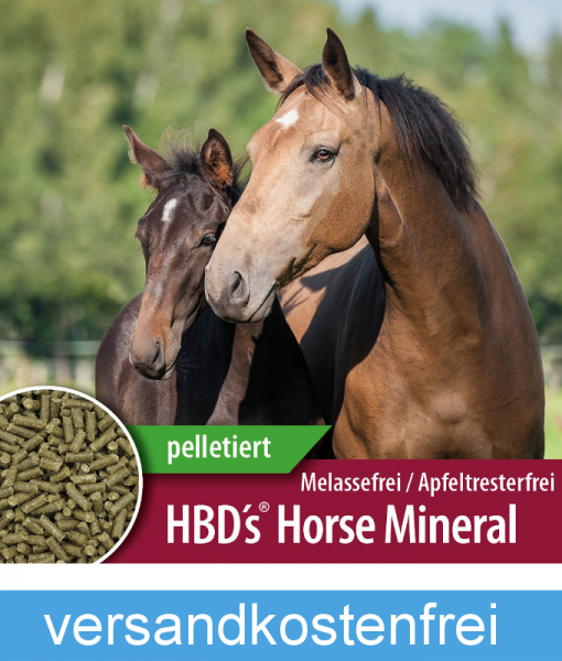 HBD-Agrar - HBD's® HorseMineral MELASSEFREI – ohne Bierhefe, ohne Apfeltrester – pelletiert